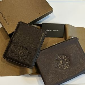 IOB Leatherology Dark Brown Pouch Card Holder Set